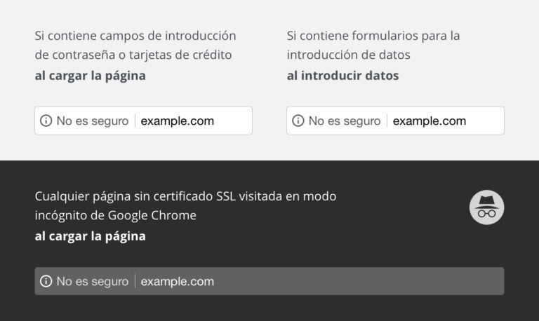 Imagen Google Chrome mostrando URLs no seguras