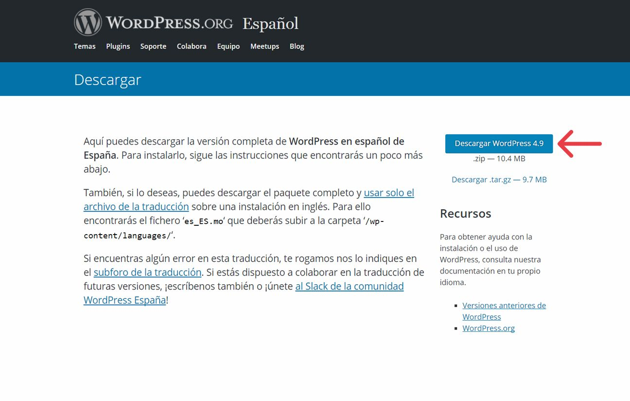 Captura de pantalla para descargar WordPress