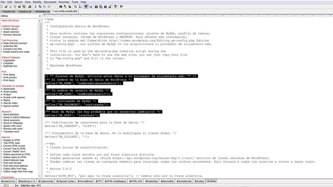 Editando el archivo wp-config.php