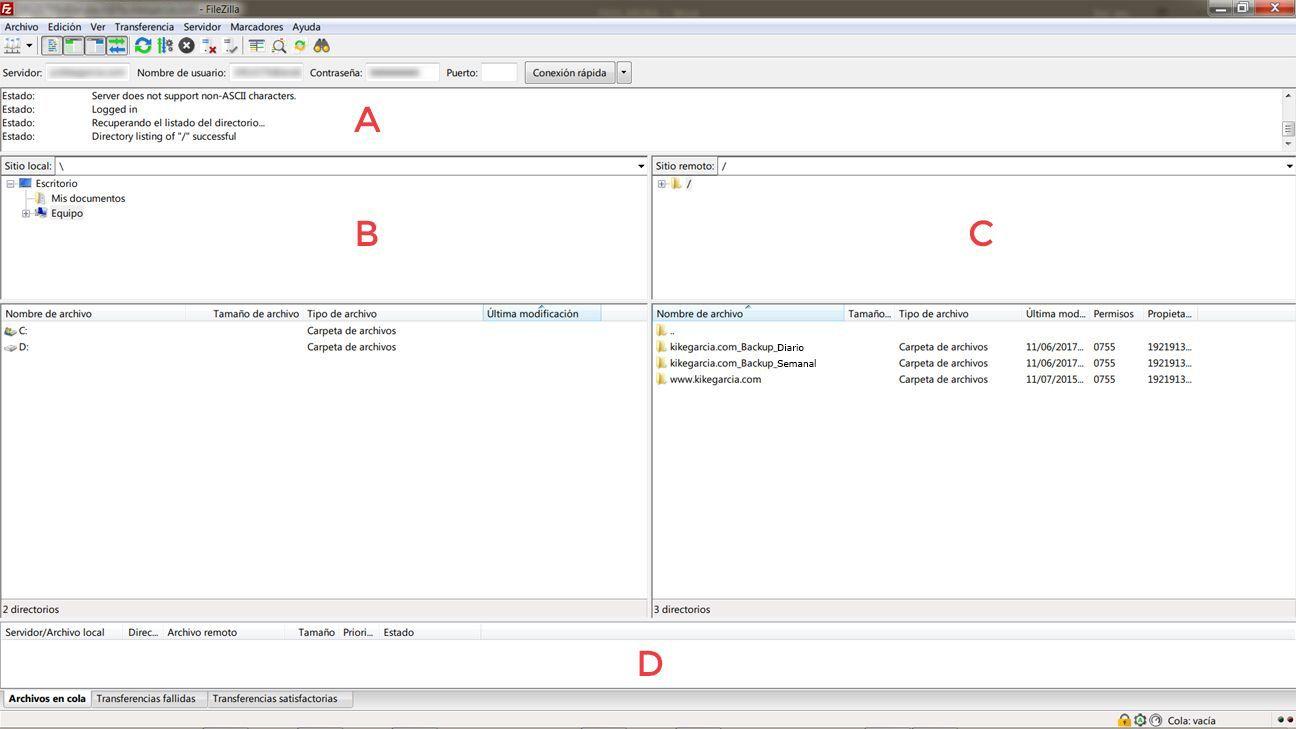 Interfaz básica de Filezilla