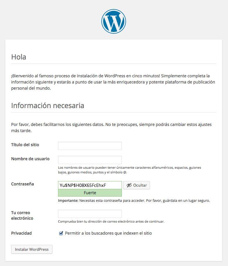 Pantalla de instalación de WordPrees