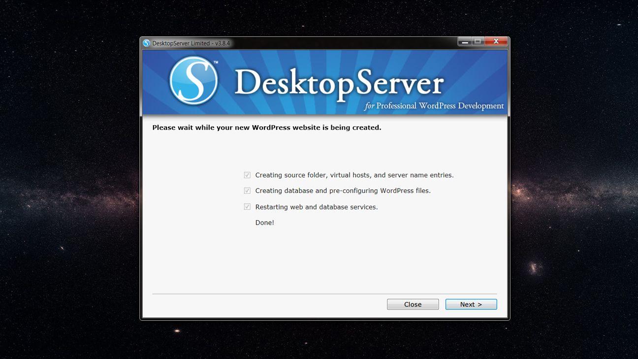 Pantalla de confirmacion de nuevo sitio creado con DesktopServer