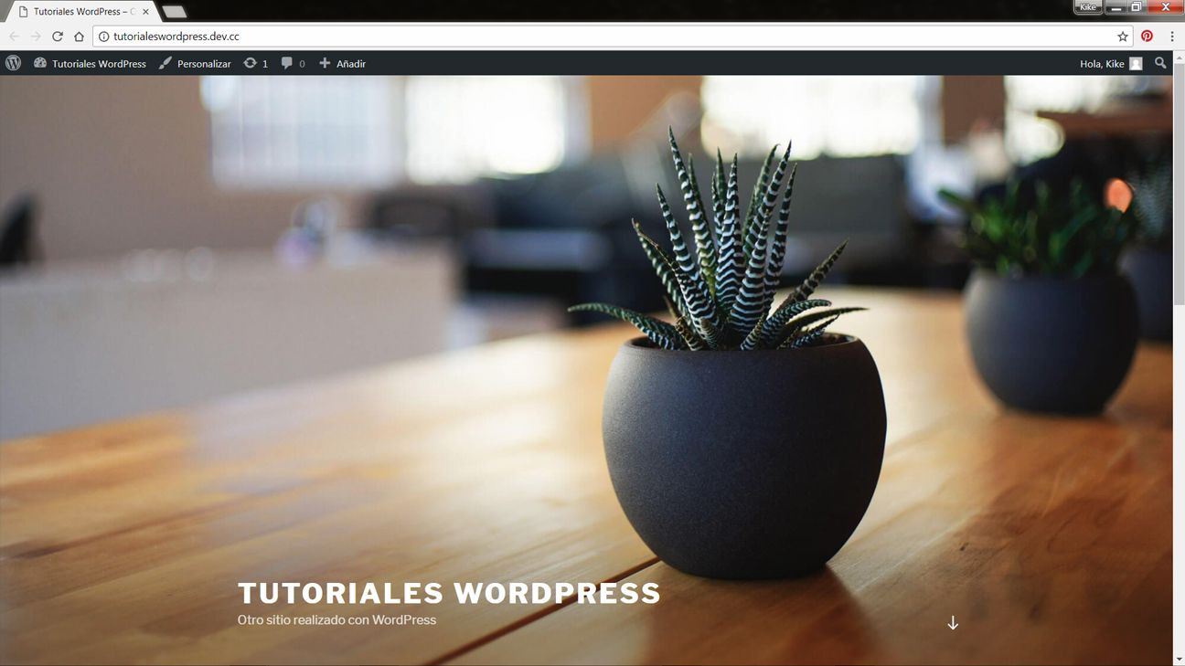 Captura de pantalla de web en WordPress recien creada