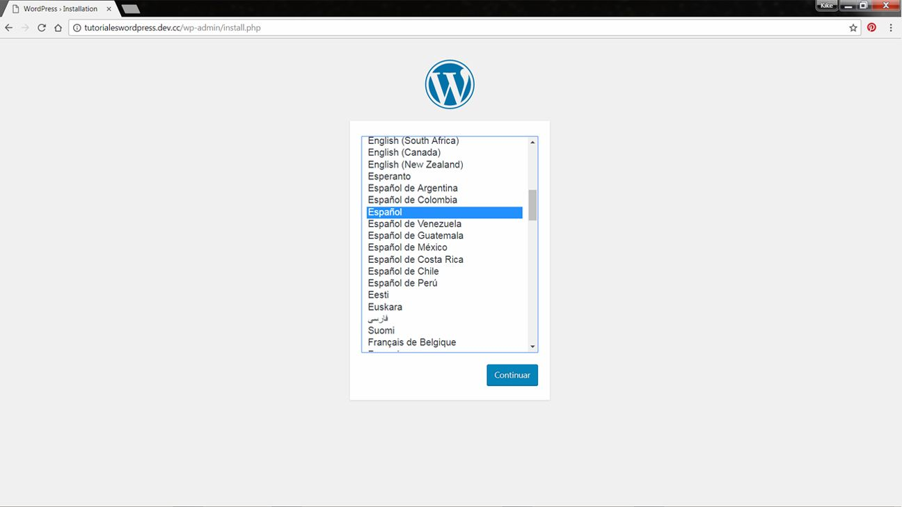 Pantalla de seleccion de idioma en WordPress