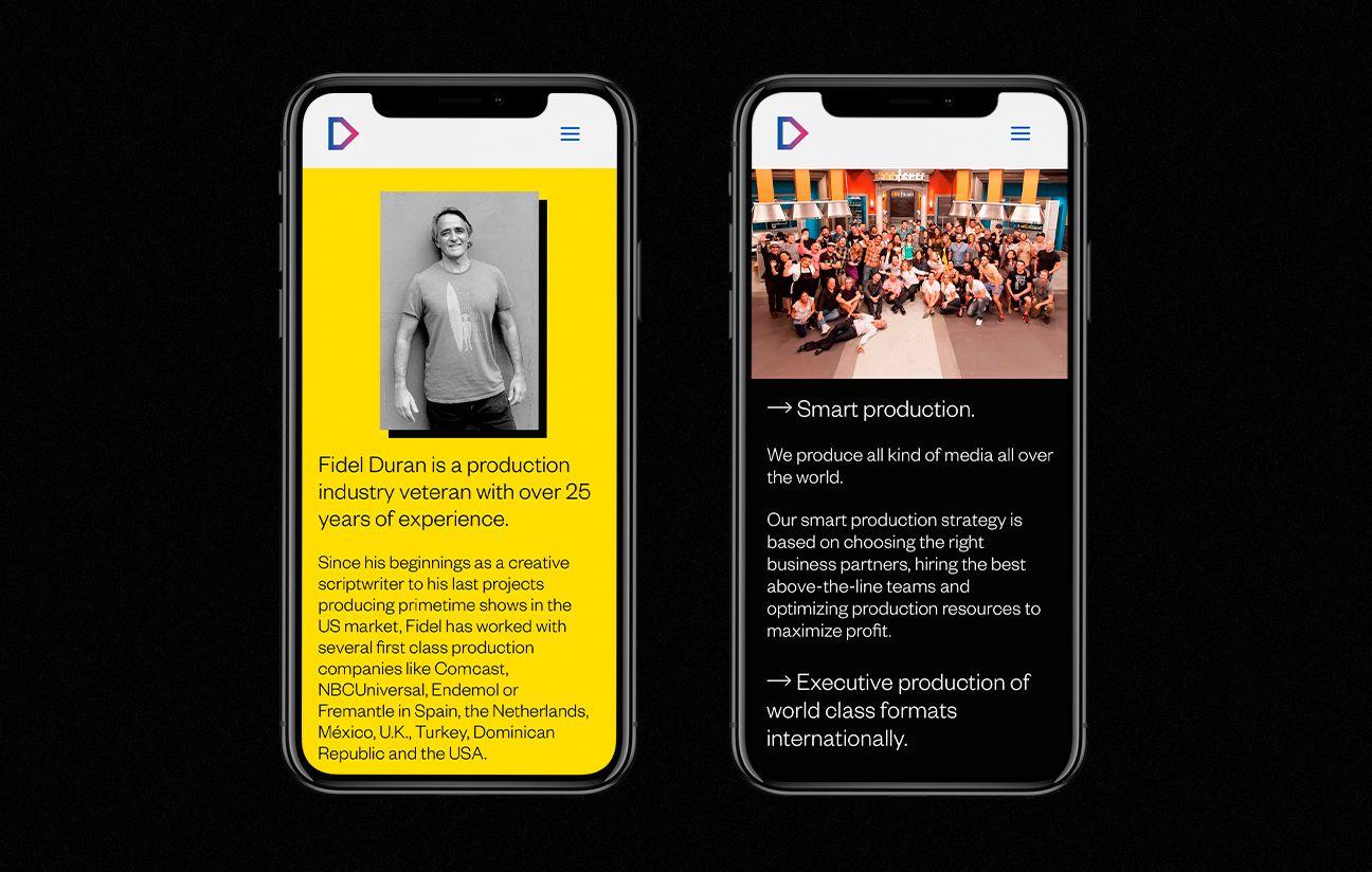 Versión móvil de la web de DURANVISION Media Corp.